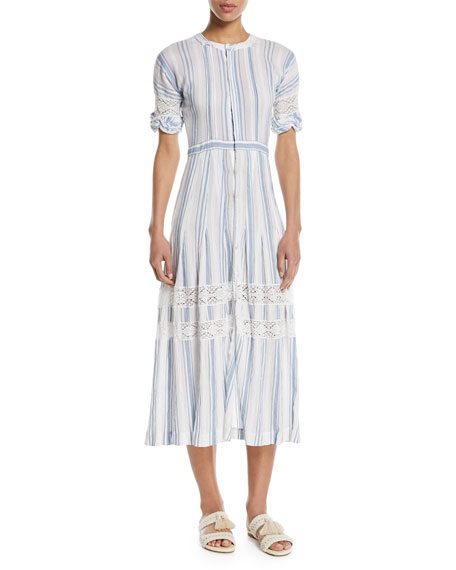 Loveshackfancy Eden Striped Cotton Short-Sleeve Coverup Midi
