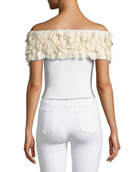 Kora Fringe Off-the-Shoulder Knit Crop Top