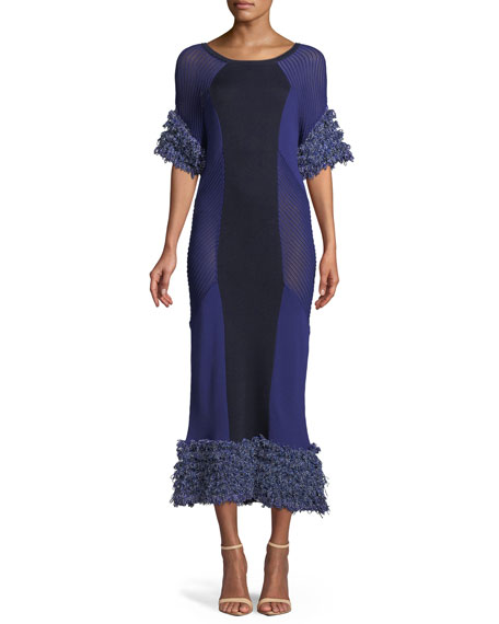 Maldini Fitted Knit Fringe Dress