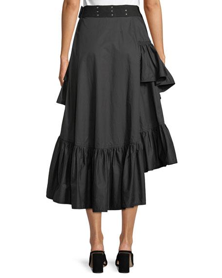 Asymmetric Multilayered Cotton Midi Skirt