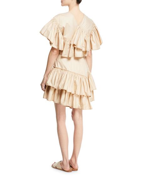 Asymmetric Ruffled Cotton Dress
