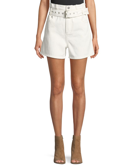 Belted Paper Bag Denim High Waist Shorts by Neiman Marcus