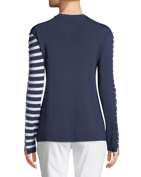 Dagani Striped Long-Sleeve Lace-Up Sweater