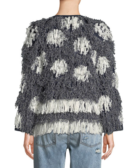 Kayes Pattern Long-Sleeve Fringe Jacket