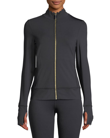 scallop zip-front jersey jacket