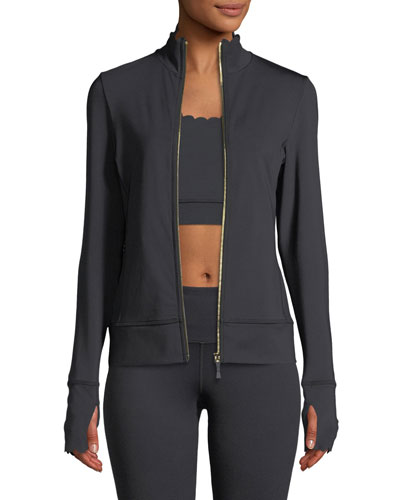scallop zip-front jersey jacket
