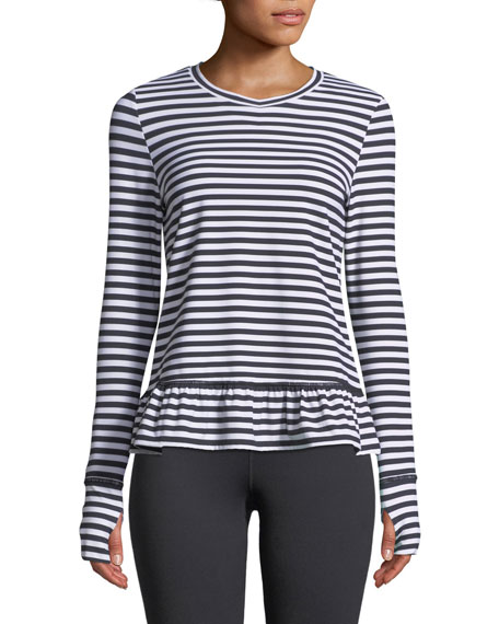 kate spade new york stripe ruffle long-sleeve pullover