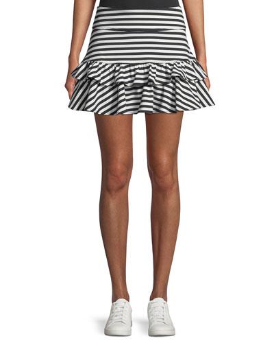 stripe ruffle mini skirt