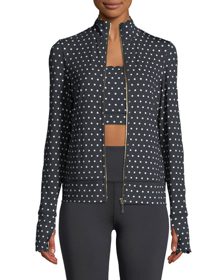 kate spade new york polka-dot scallop jacket