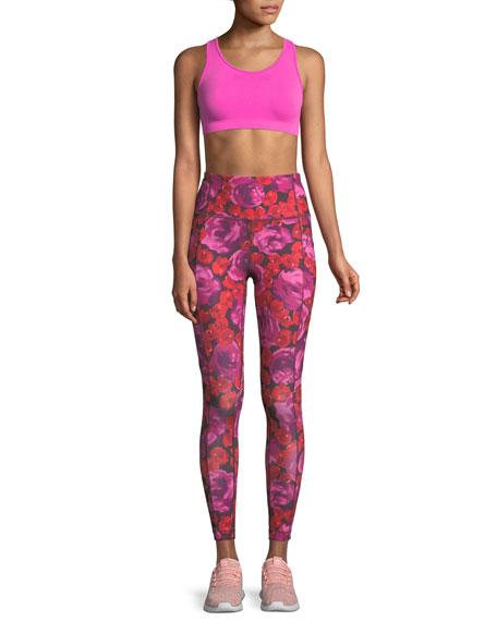 electric rose-print studio leggings
