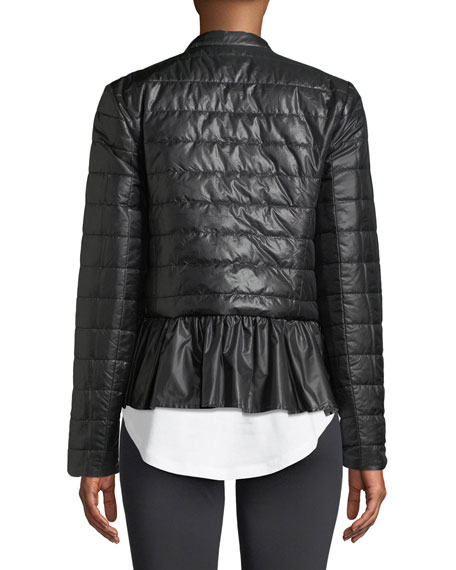 quilted snap-front athletic jacket