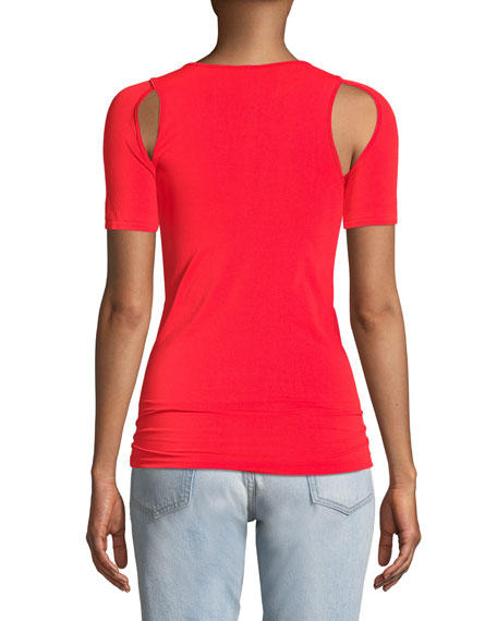 Cutout Crewneck Fitted Seamless Jersey Tee