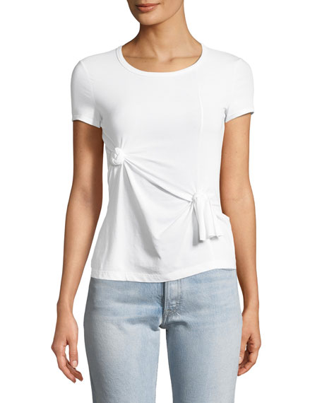 Helmut Lang Crewneck Short-Sleeve Knot Baby Tee and