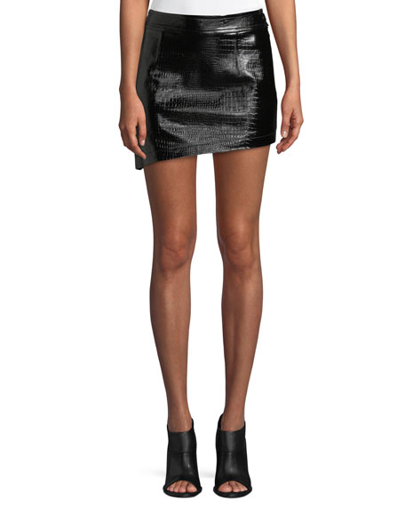 Croc-Embossed Leather Mini Skirt