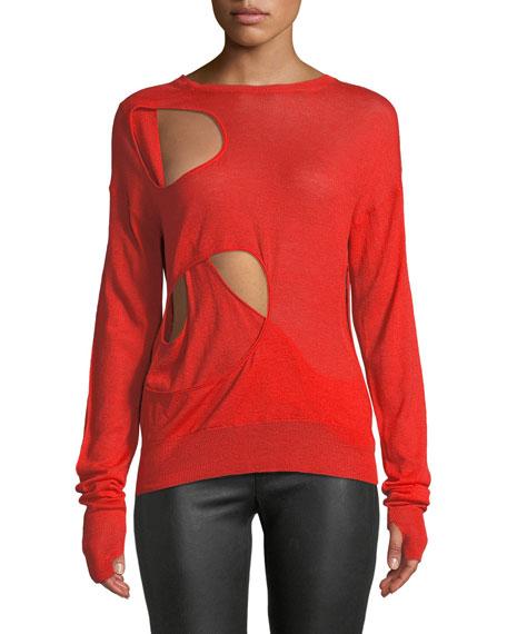 Helmut Lang Crewneck Cutout Long-Sleeve Wool-Silk Sweater and