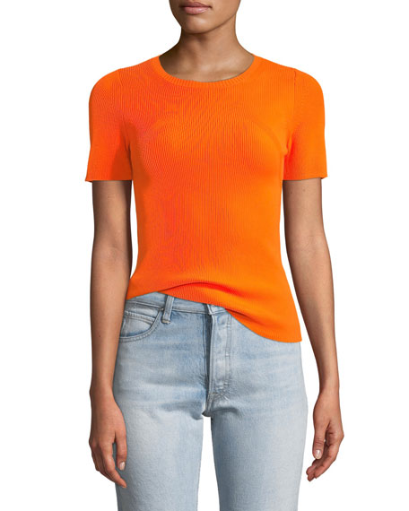Helmut Lang Essential Crewneck Rib-Knit Tee and Matching