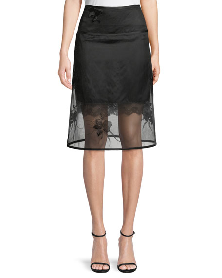 Orchid-Embroidery A-Line Organza Skirt, Black