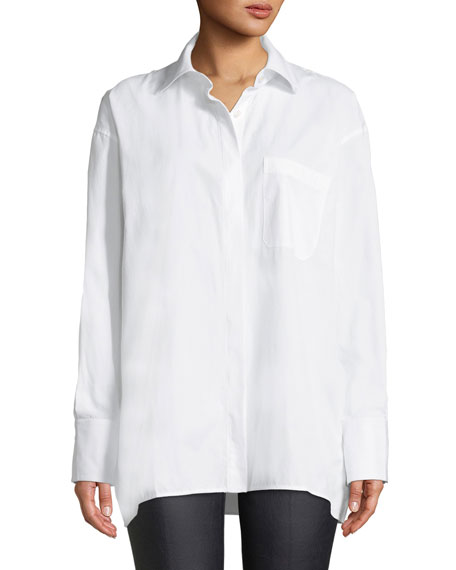 Oversized Button-Down Poplin Shirt
