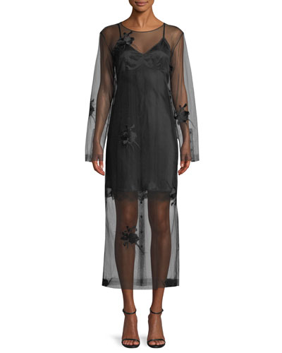 Helmut Lang Orchid Embroidery Illusion Dress