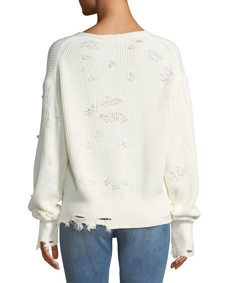 Distressed Long-Sleeve V-Neck Sweater