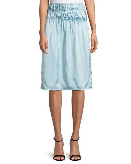 Ruched Satin Slip Skirt