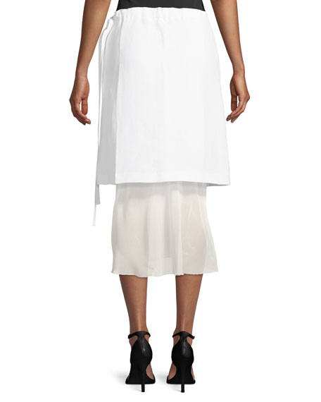 Ruched-Waist Linen Skirt with Contrast Hem