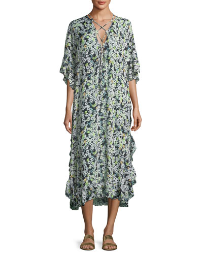 Floral Caftan Short-Sleeve Dress