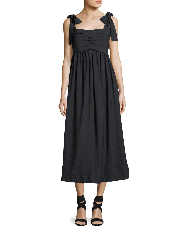 ef5cdb52ad See by Chloe Sleeveless Tie-Shoulder A-Line Dress | Neiman Marcus