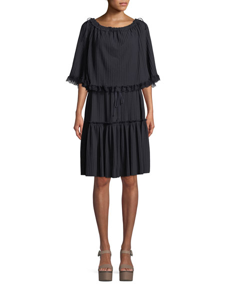 Tiered Plisse Self-Tie Shift Dress