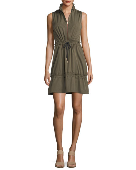 Cargo Drawstring Fit-&-Flare Mini Dress