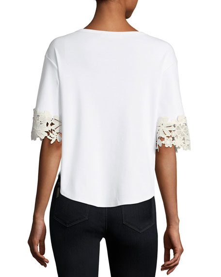 Embellished Lace-Sleeve Cotton Shirt