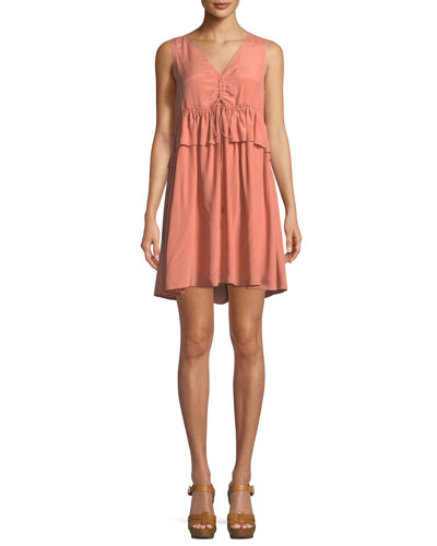 Self-Tie Sleeveless Mini Dress