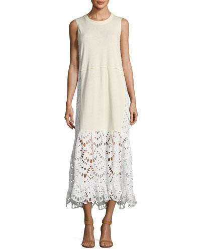Eyelet Bottom Sleeveless Dress