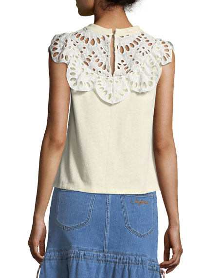 Eyelet-Neck Sleeveless Cotton Tee