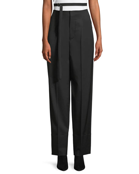 Helmut Lang High-Waist Relaxed Wide-Leg Wool Pants