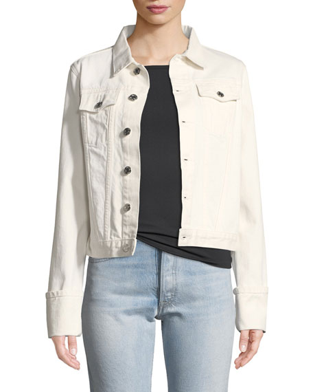 Helmut Lang Calf-Leather Denim-Detail Jacket and Matching Items