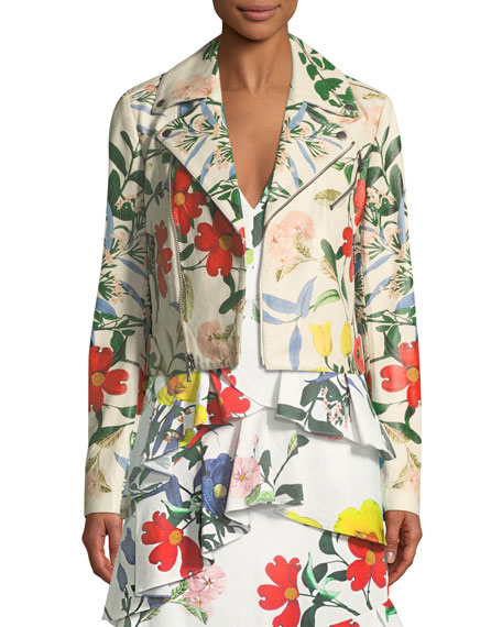 Alice + Olivia Cody Whimsy Floral-Print Leather Moto