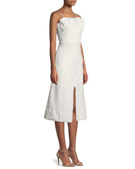 Sleeveless Stripe Ruffle Dress