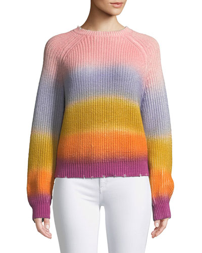 Kary Long-Sleeve Rainbow Gradient Sweater