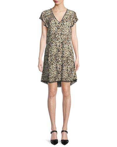 Ringo V-Neck Leopard-Print Crinkled Crepe Dress