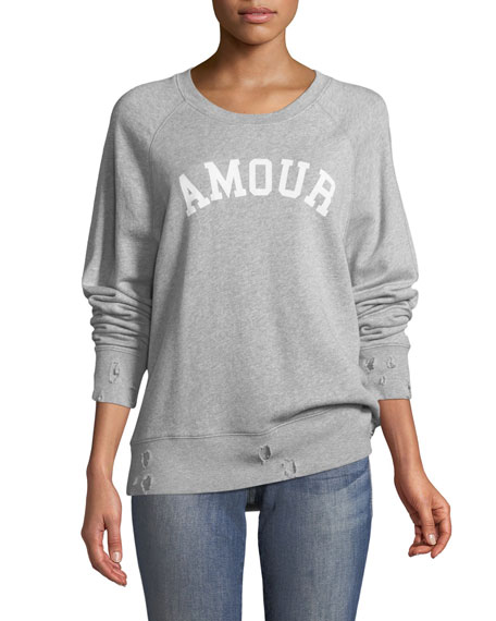 Amour Crewneck Distressed Pullover Sweatshirt