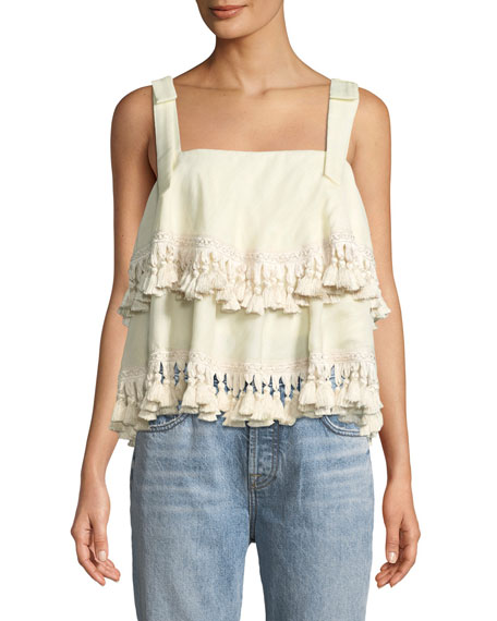 Mestiza New York Palma Tie-Shoulder Tassel Top