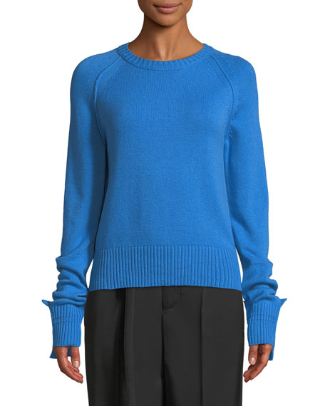 Helmut Lang Shrunken Crewneck Cashmere Knit Sweater and