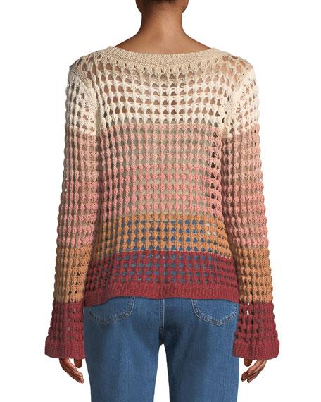 Crewneck Multicolor Open-Knit Sweater