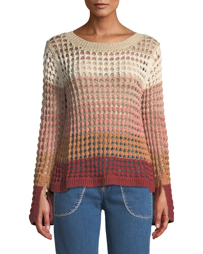 Crewneck Multicolor Open-Knit Sweater