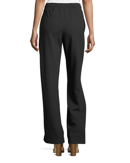 Wide-Leg Pull-On Crepe Pants