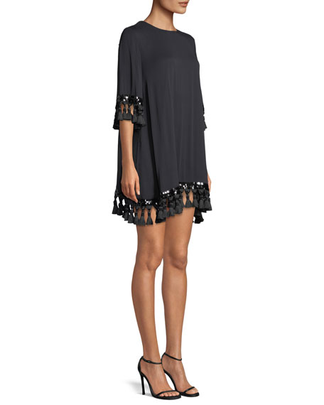 Shimmy Shimmy Tassel-Trimmed Mini Cocktail Dress
