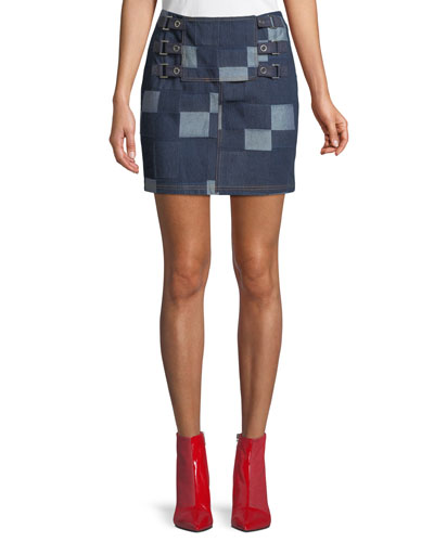 Patched Tab Straight Denim Skirt