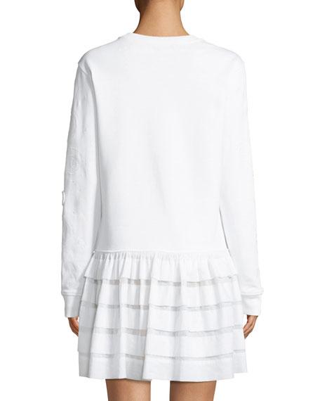 Crewneck Long-Sleeve Embroidered Dress with Ruffle Hem