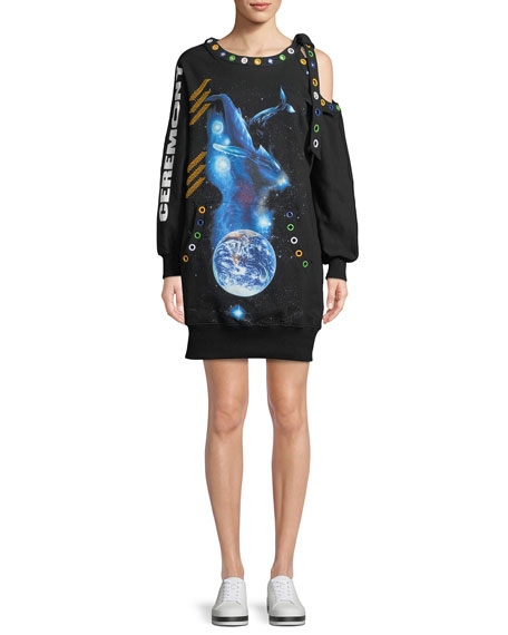 Oceanic-Creatures Rainbow-Grommets Shoulder-Cutout Oversized Sweatshirt Dress